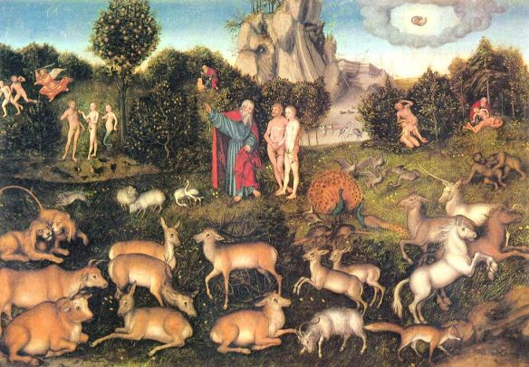 """""""The Garden of Eden"""" by Lucas Cranach der Ältere, a 16th-century German depiction of Eden."""