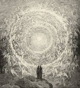 Dante and Beatrice gaze upon the Highest Heavens; from Gustave Doré's illustrations to the Divine Comedy.