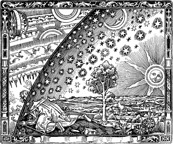 "The wood engraving by an unknown artist first appeared in Camille Flammarion's L'atmosphère: météorologie populaire (1888). The image depicts a man crawling under the edge of the sky, depicted as if it were a solid hemisphere, to look at the mysterious Empyrean beyond. The caption underneath the engraving (not shown here) translates to ""A medieval missionary tells that he has found the point where heaven and Earth meet..."""