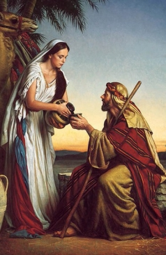 A Caring Woman Giving Water to a Traveler