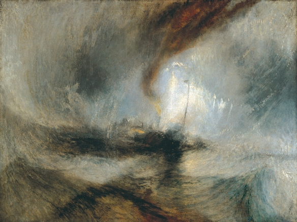An oil painting by William Turner in 1842 called Snow Storm - Steam-Boat off a Harbour's Mouth