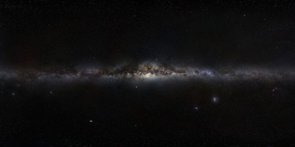 360-degree panorama view of the Milky Way (an assembled mosaic of photographs) by ESO. The galactic centre is in the middle of the view, with galactic north up.